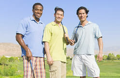 Men playing golf demonstrating hair regrowth treatment results